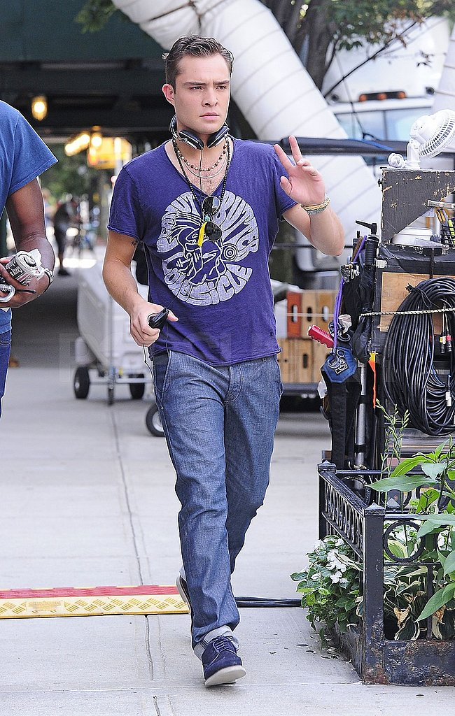 Ed Westwick looked dashing in purple.