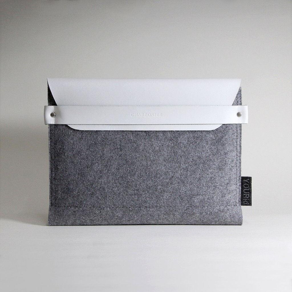 White Leather and Gray Felt Tablet Sleeve ($49)