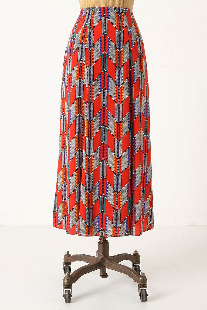 Print pop: Add a jostle to your Fall wardrobe with a statement printed skirt. We love the eye-catching print and calf-length hemline. Mara Hoffman Arrow Feather Print Skirt ($328)
