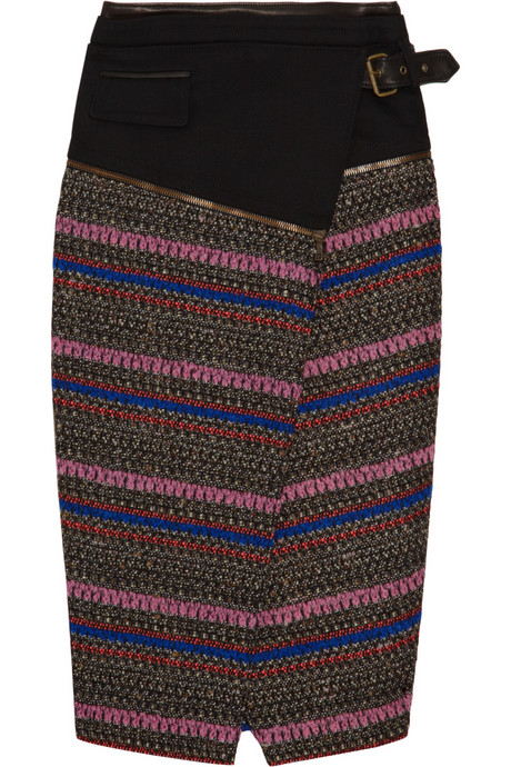 Textural tweed: Hands down, our ultimate dream skirt. This structured tweed skirt would look fabulous with a crisp or sheer button-down blouse and stiletto heels. Proenza Schouler Patterned Bouclé-Tweed Skirt ($1,090)