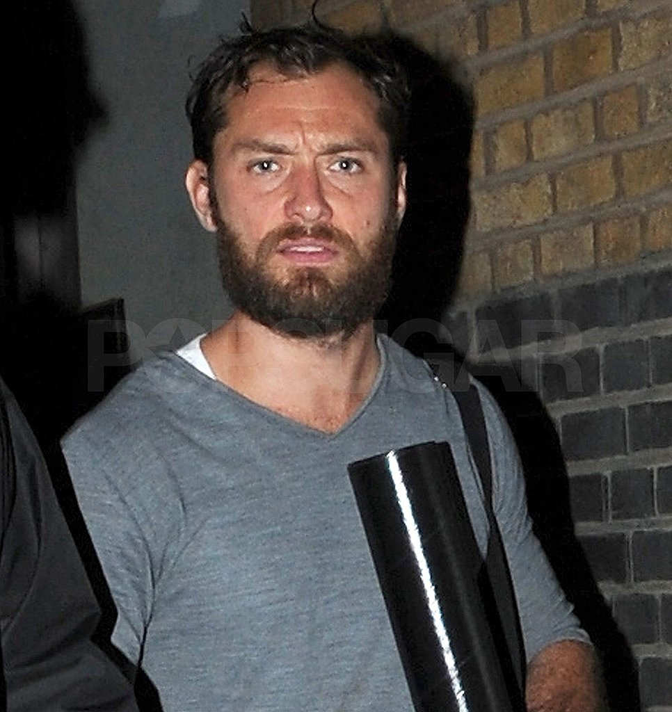 Jude Law leaves the theater in London following a performance of Anna Christie.
