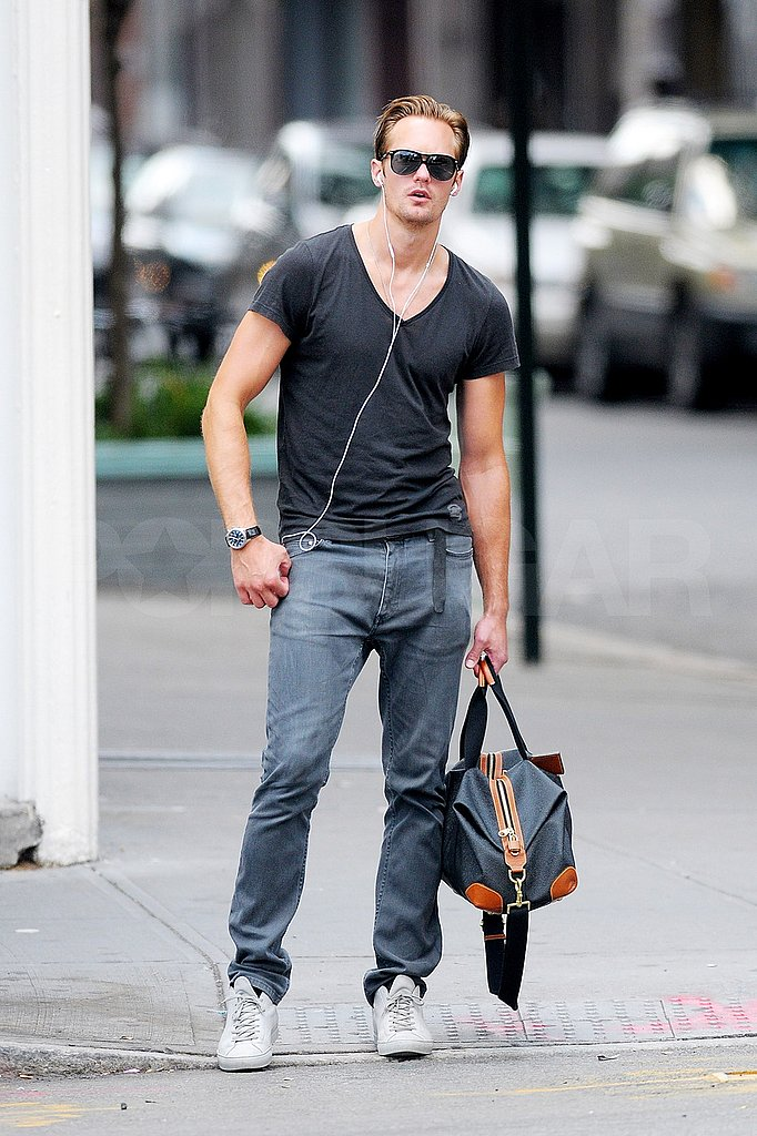Alexander Skarsgard with his gym bag.