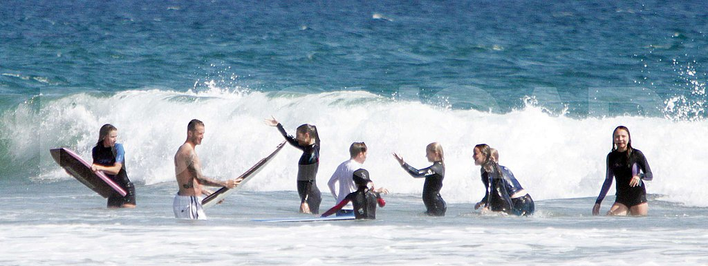 The whole group played in the waves together.
