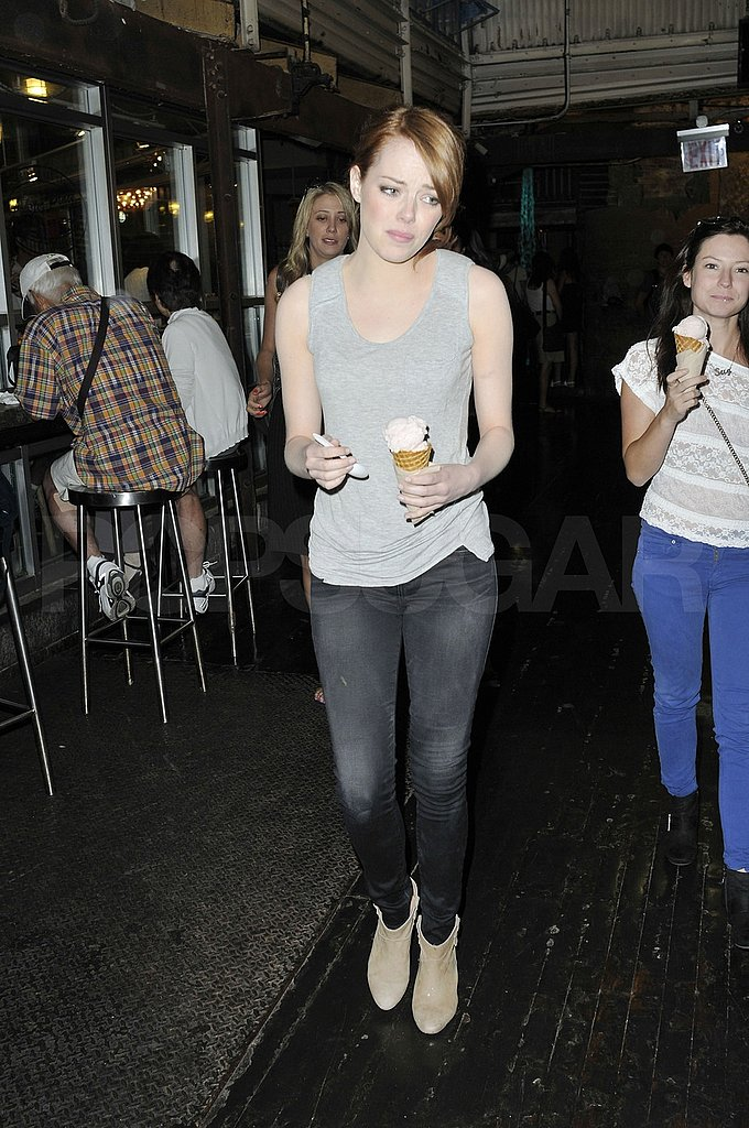 Emma Stone capped off her evening with ice cream.