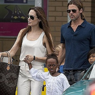 Brad Pitt and Angelina Jolie Pictures Shopping With Kids