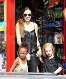 Angelina Jolie shops in London with Shiloh Jolie-Pitt and Zahara Jolie-Pitt.