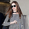 Anne Hathaway at LAX in a Striped Dress Pictures