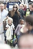 Angelina Jolie arrives in Glasgow with daughters Shiloh Jolie-Pitt and Zahara Jolie-Pitt.