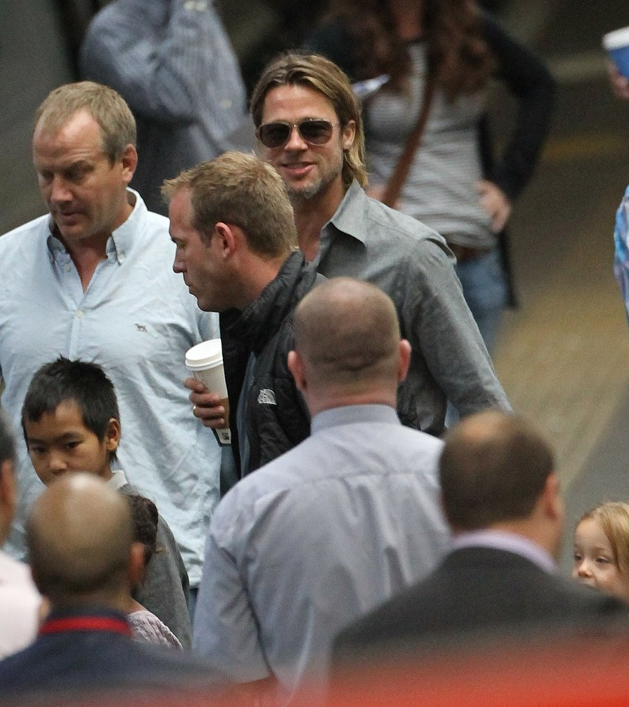 Brad Pitt with Maddox and Knox.