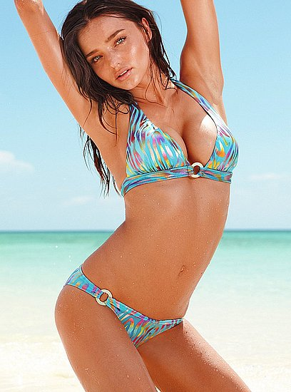 Miranda Kerr in a patterned bikini.