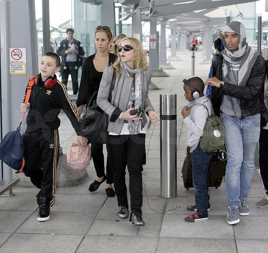 Madonna in London with Rocco, David, and Brahim.