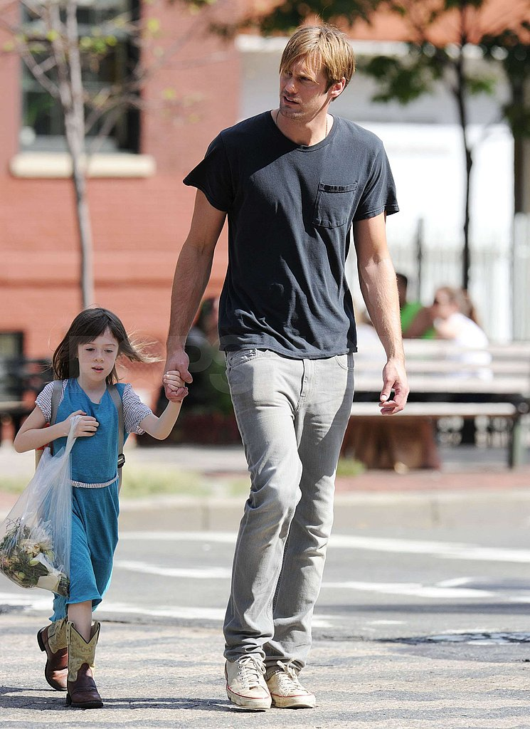 Alexander Skarsgard and his costar crossed the street.