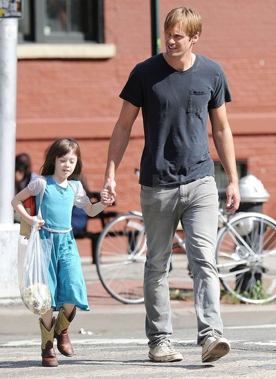 Alexander Skarsgard Holds Hands With His Cute Costar on Set