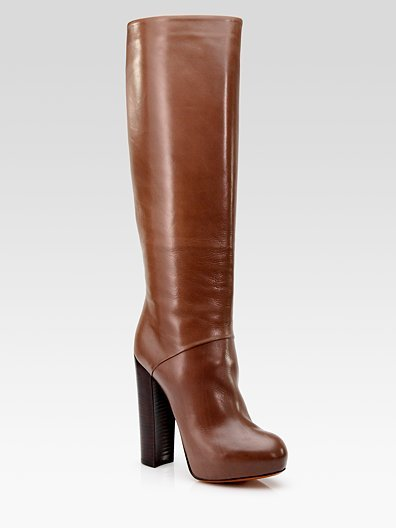 Brown Pheonica Leather Knee-High Platform Boots ($600)