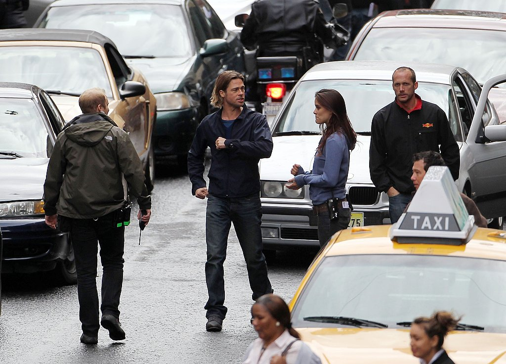 Brad Pitt jokes around on the Glasgow set of World War Z.