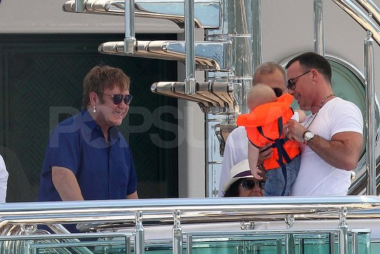 Elton John and David Furnish with Zachary.