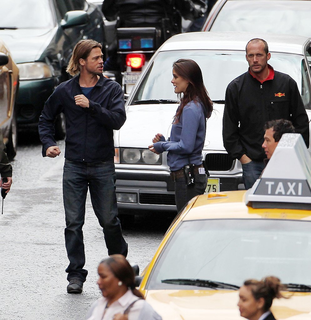 Brad Pitt on the Glasgow set of World War Z.