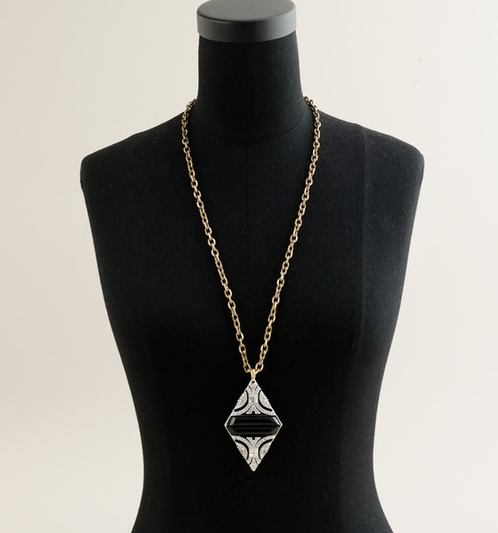 Lulu Frost for J.Crew Crystal Duette Pendant Necklace in Black ($135)