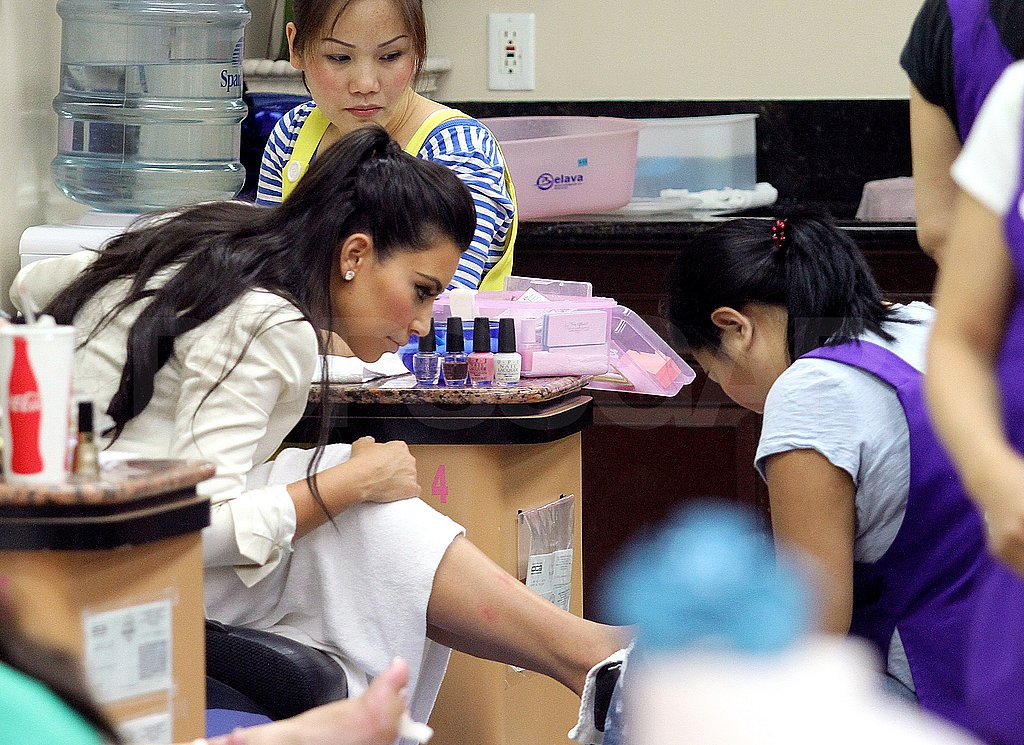 Kim Kardashian had her hands and feet painted at an LA nail salon.