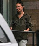 Natalie Portman walks without newborn Aleph Millepied or fiancé Benjamin Millepied.