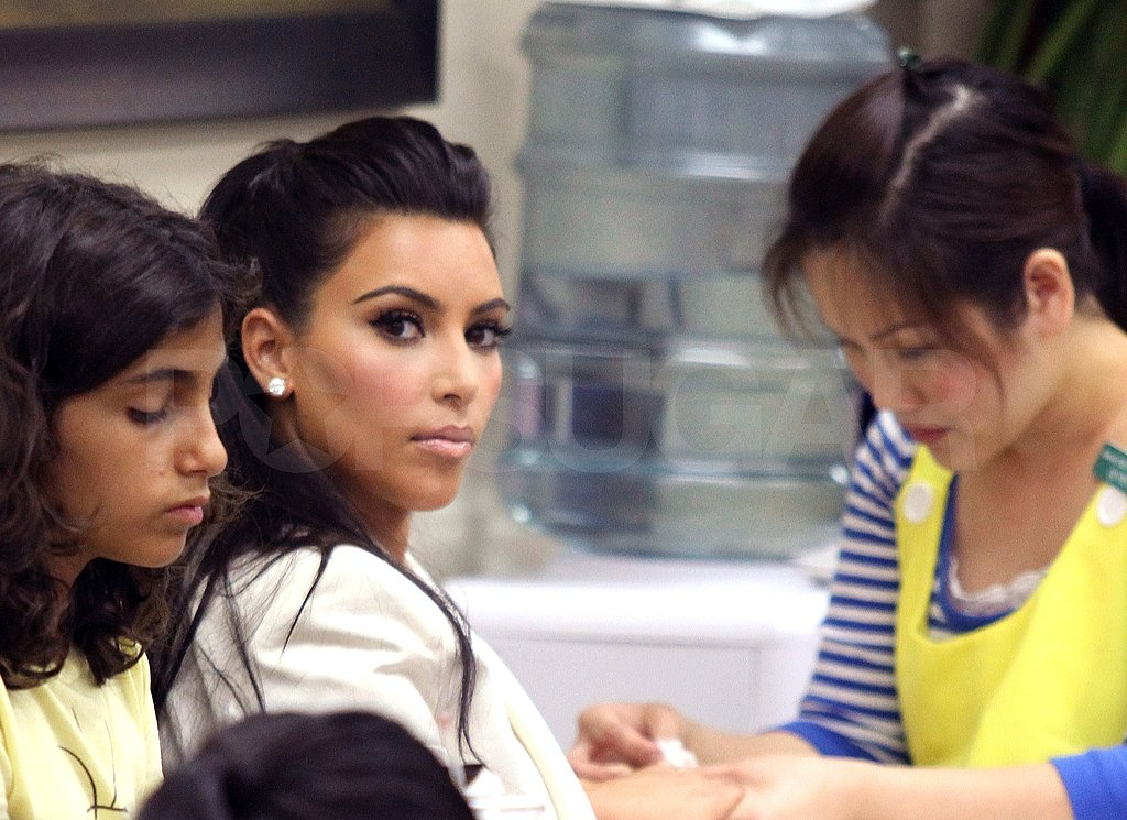 Kim Kardashian had her nails painted in LA.