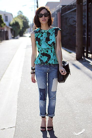 We love this patched denim and printed top combo. Photo courtesy of That's Chic