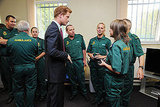 Prince Harry meets with ambulance workers in Salford, England.