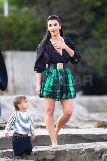 Kim Kardashian and Mason before her wedding.