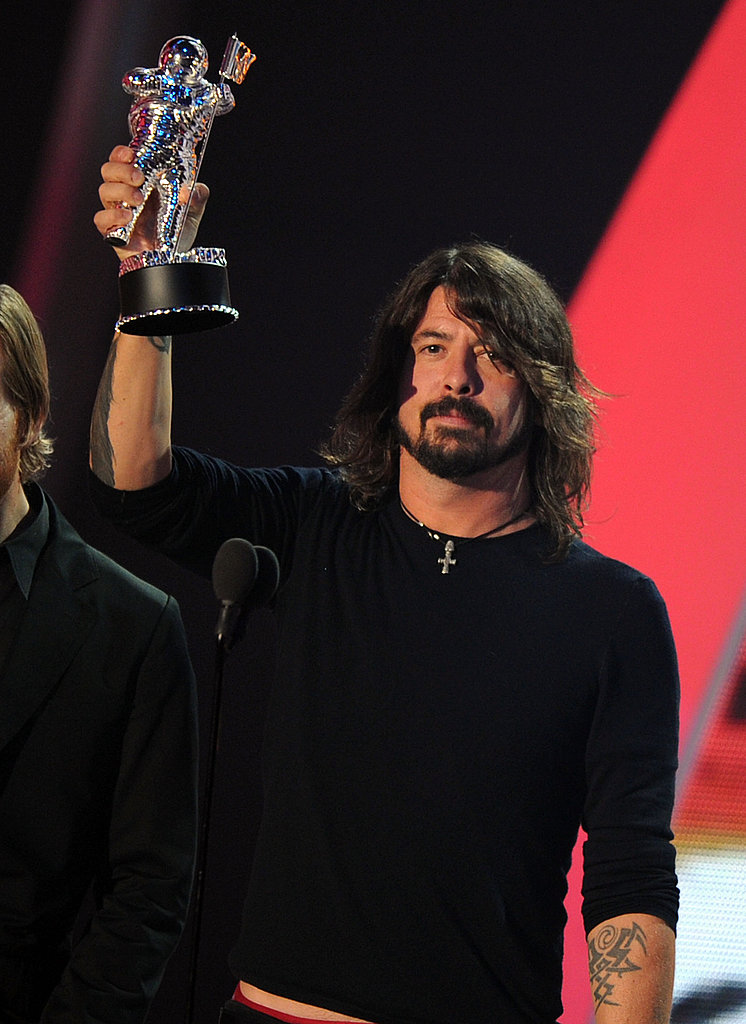 Dave Grohl on stage at the 2011 MTV VMAs.