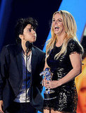 Britney Spears and Lady Gaga on stage at the 2011 MTV VMAs.