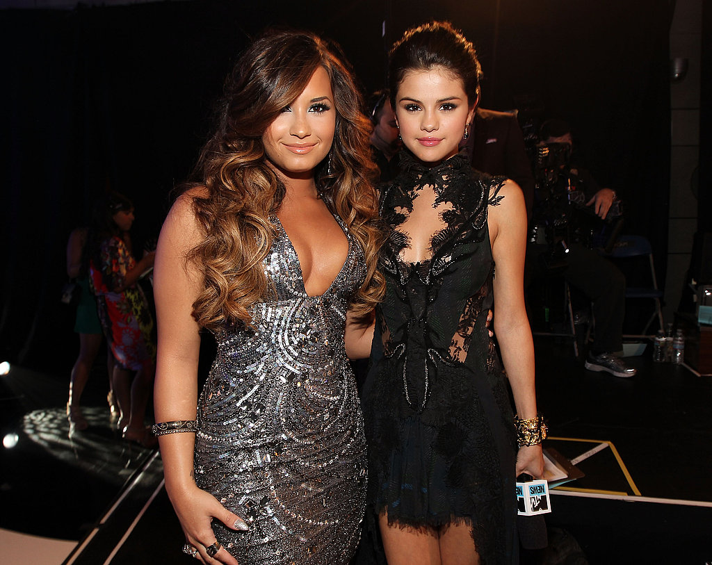 Demi Lovato and Selena Gomez got together during the preshow.