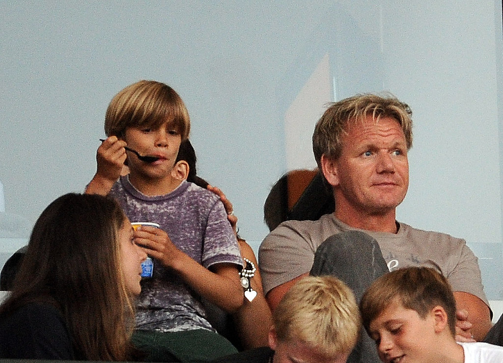 Gordon Ramsay at David Beckham's soccer game.