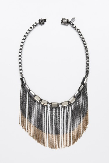 Fringe that feels glam and just a little boho.   Ann Taylor Ombre Metal Waterfall Necklace ($98)