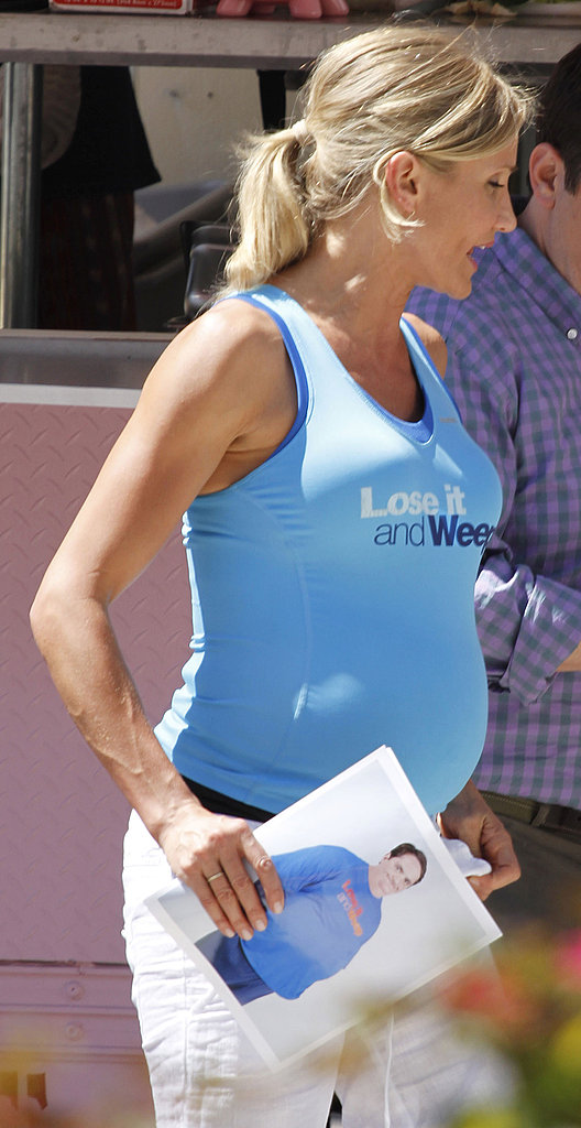 Cameron Diaz Sports a Fake Baby Bump and a Smile on Set