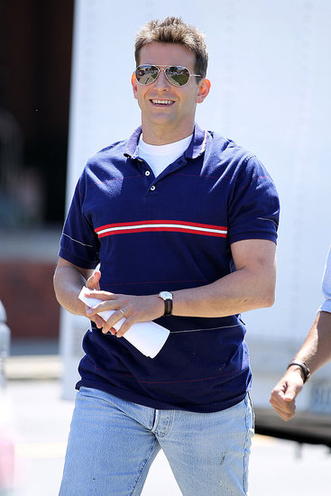 Bradley Cooper wore a retro polo and aviator glasses on set in New York.
