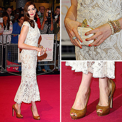 Anne Hathaway in Alexander McQueen at One Day Premiere