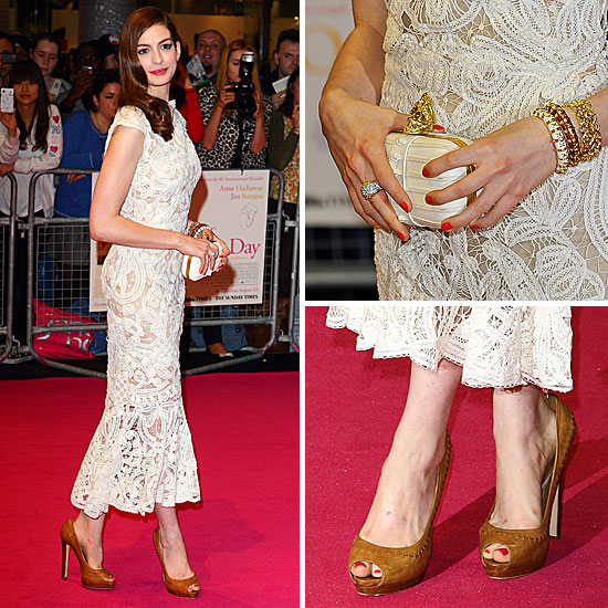 All Angles: Anne Hathaway Dazzles in Alexander McQueen at the One Day Premiere