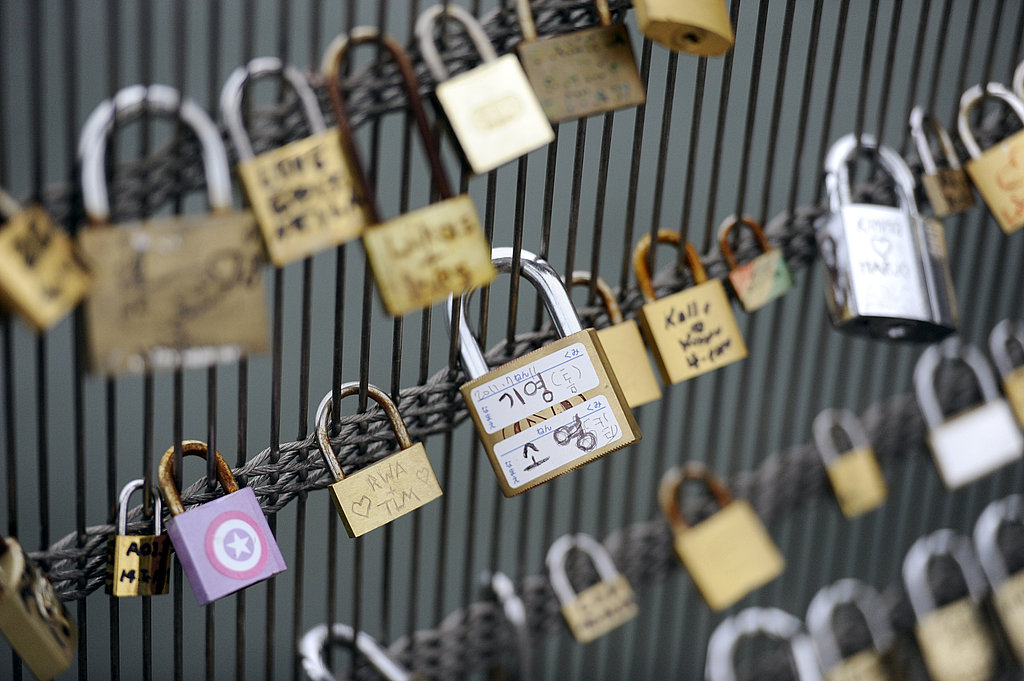 Locks are lined up on the Leopold Senghor bridge in Paris.