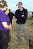 Prince Harry politely chatted with two lovely ladies at the rowing exhibition.