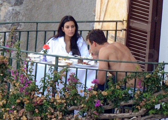 Kim and Kris shared a romantic meal on their balcony.