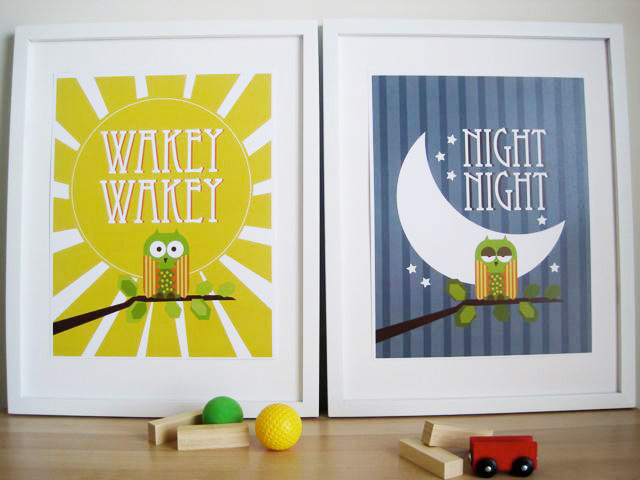 Owl Art For Nursery - Night and Wakey ($38 For Set of Two)