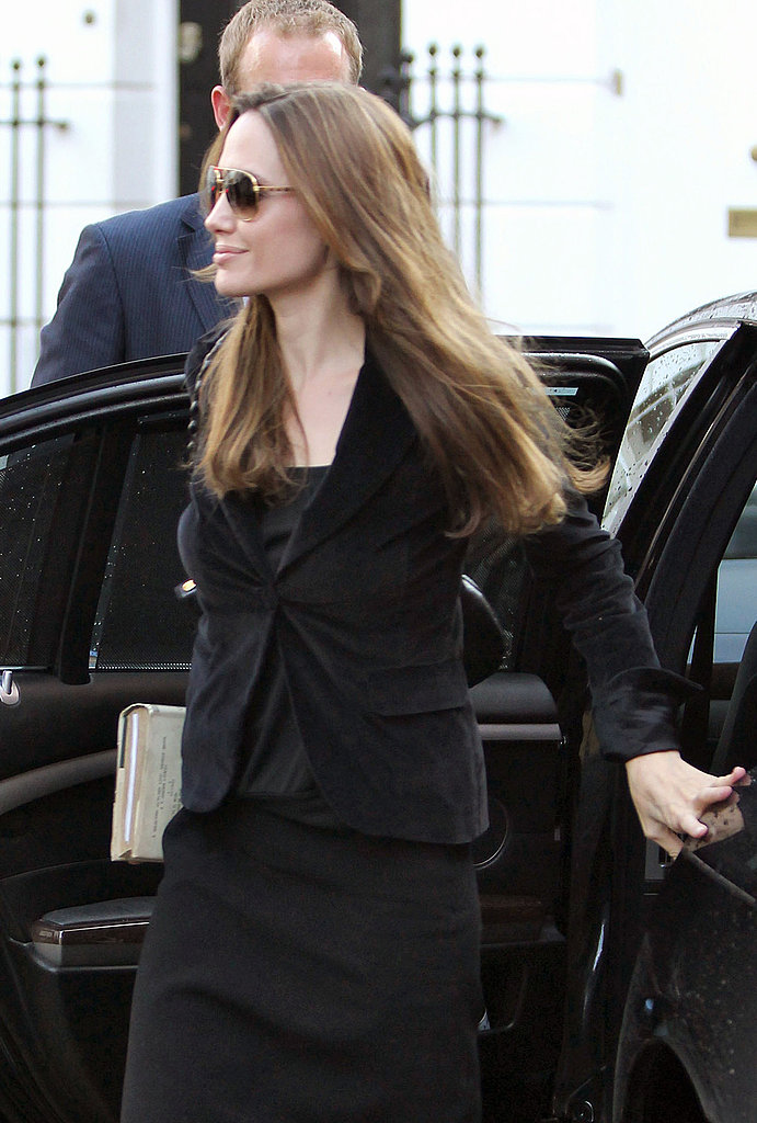 Angelina Jolie leaves Dorchester hotel in London.