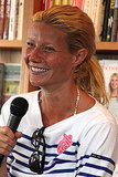Gwneth Paltrow covered up her bikini with a nautical sweater for the casual event.
