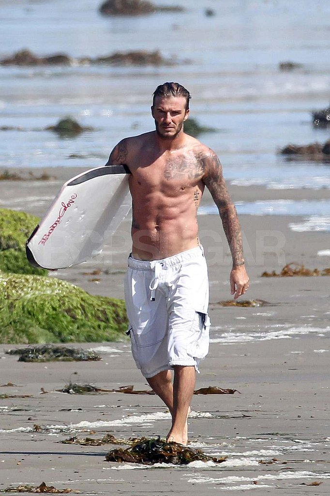 Shirtless David Beckham in Malibu.