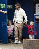 Brad Pitt with Knox Jolie-Pitt and Vivienne Jolie-Pitt in London.