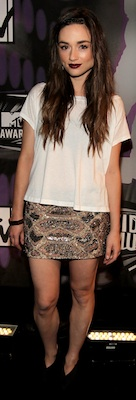 Crystal Reed in an All Stains Sequin Mini at VMAs