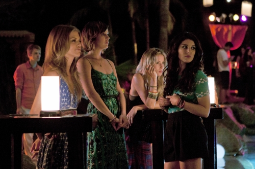 AnnaLynne McCord as Naomi, Jessica Stroup as Silver, Gillian Zinser as Ivy, and Shenae Grimes as Annie on 90210.  Photo courtesy of The CW
