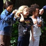Shiloh Jolie-Pitt, Zahara Jolie-Pitt, Pax Jolie-Pitt on a beautiful day in London.