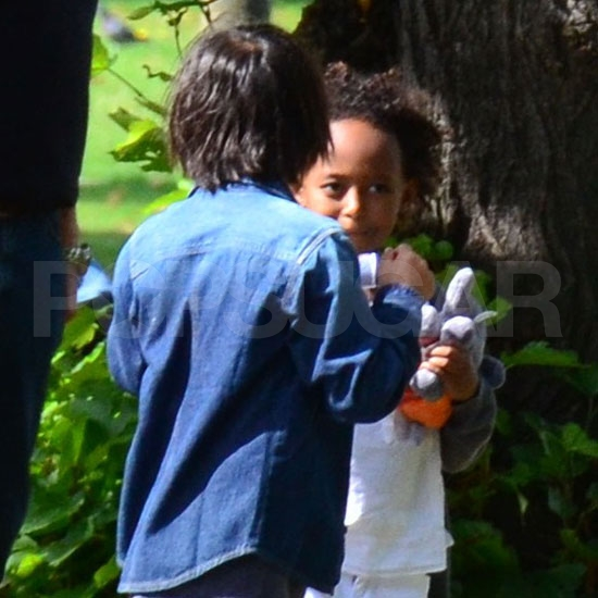 Zahara Jolie-Pitt and Pax Jolie-Pitt in London.