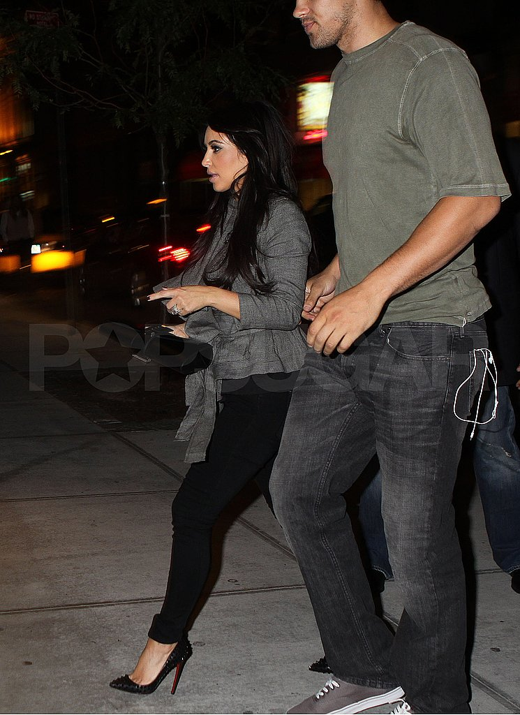 Kim Kardashian and Kris Humphries arrive at their NYC hotel after dinner.